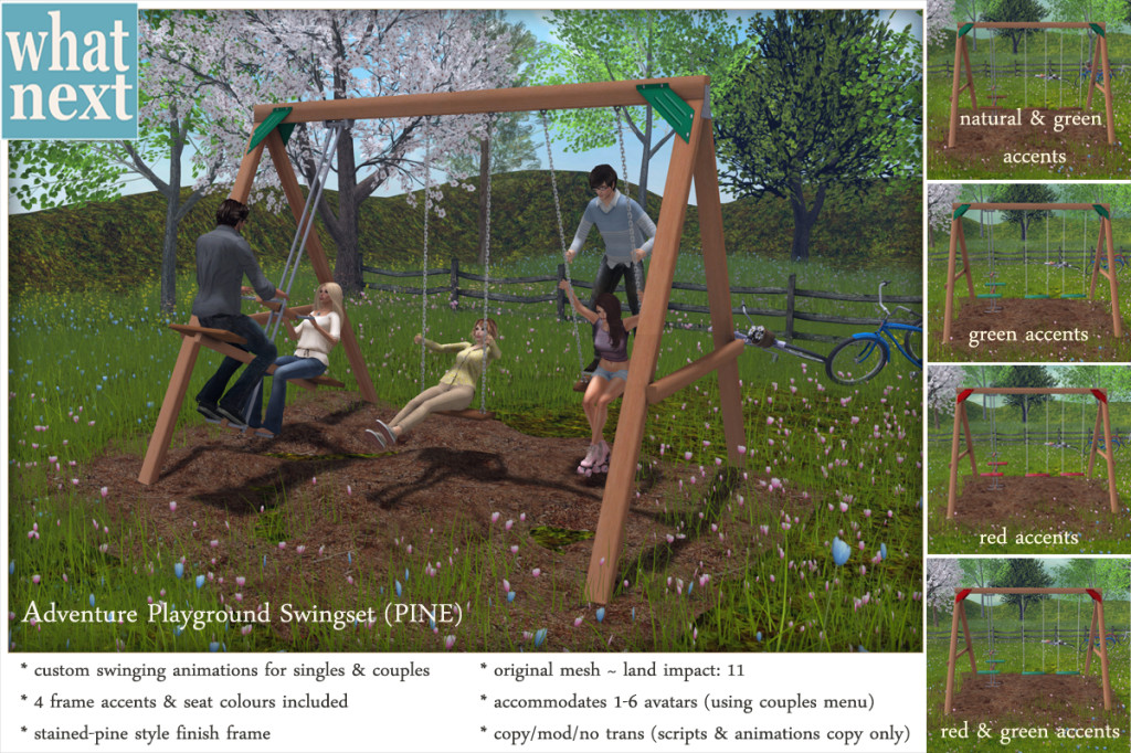 {what next} Adventure Playground Swingset - Pine Version