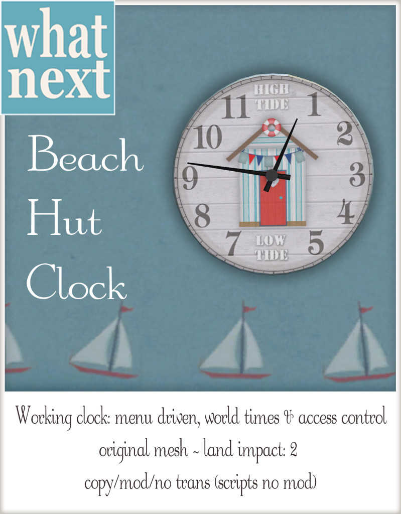 {what next} Beach Hut Clock Vendor
