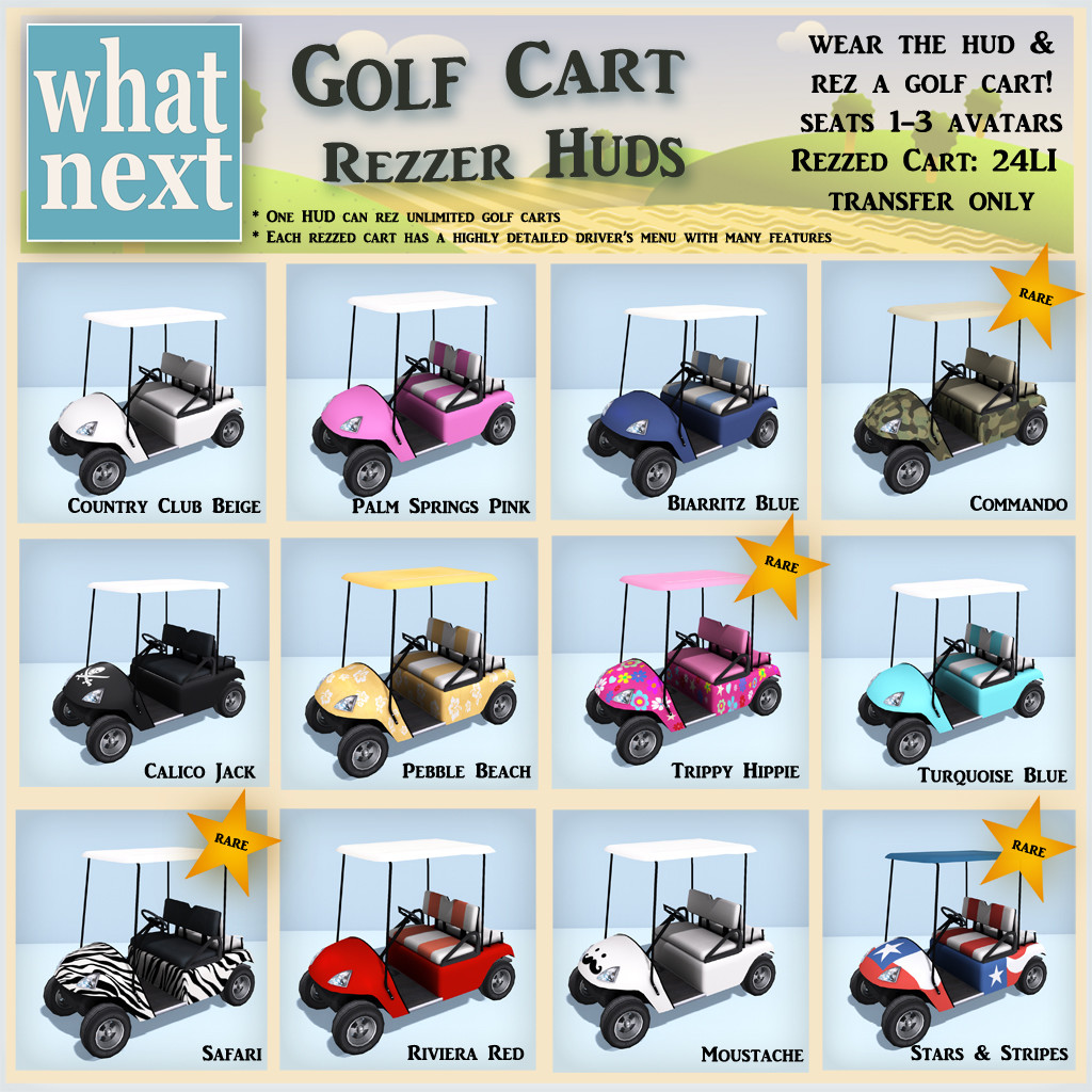 {what next} Golf Cart Rezzer HUD Gacha Key_1024