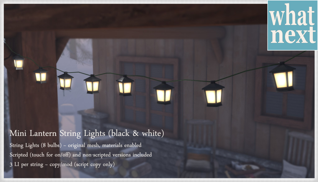 {what next} Mini Lantern String Lights black & white