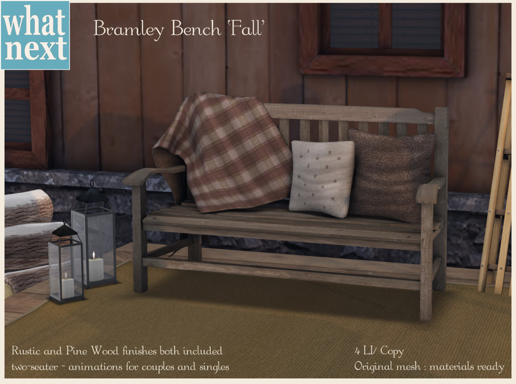 {what next} Bramley Bench - Fall Promo
