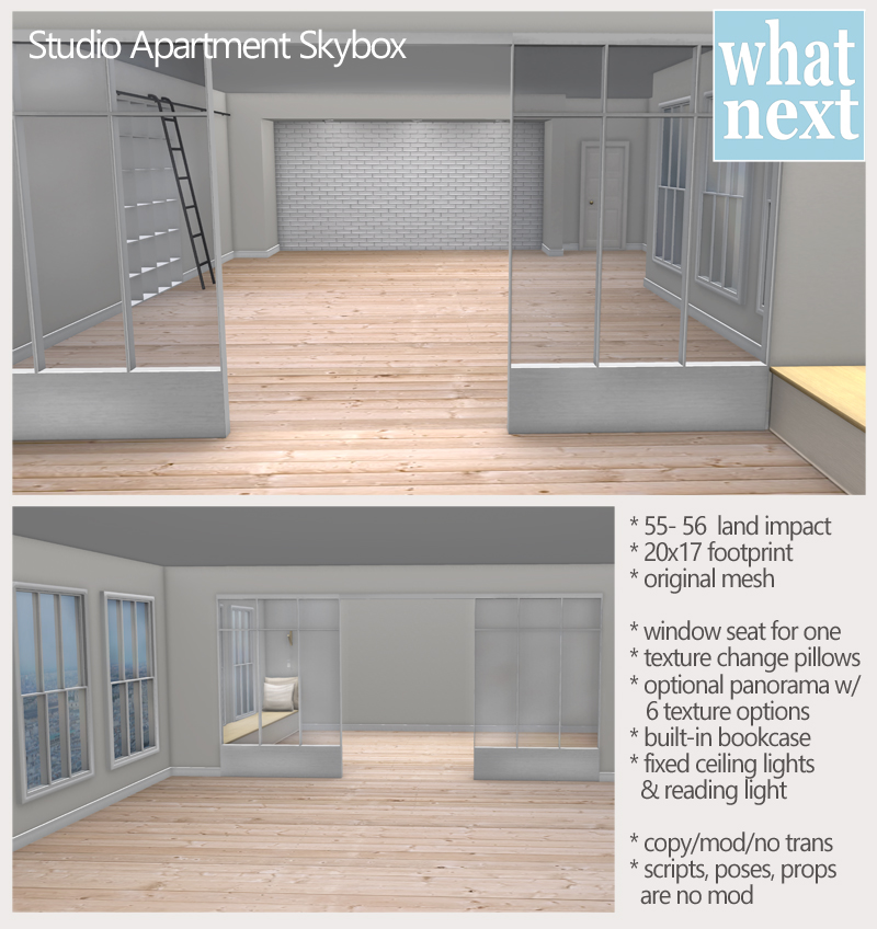 {what next} studio apartment skybox vendor