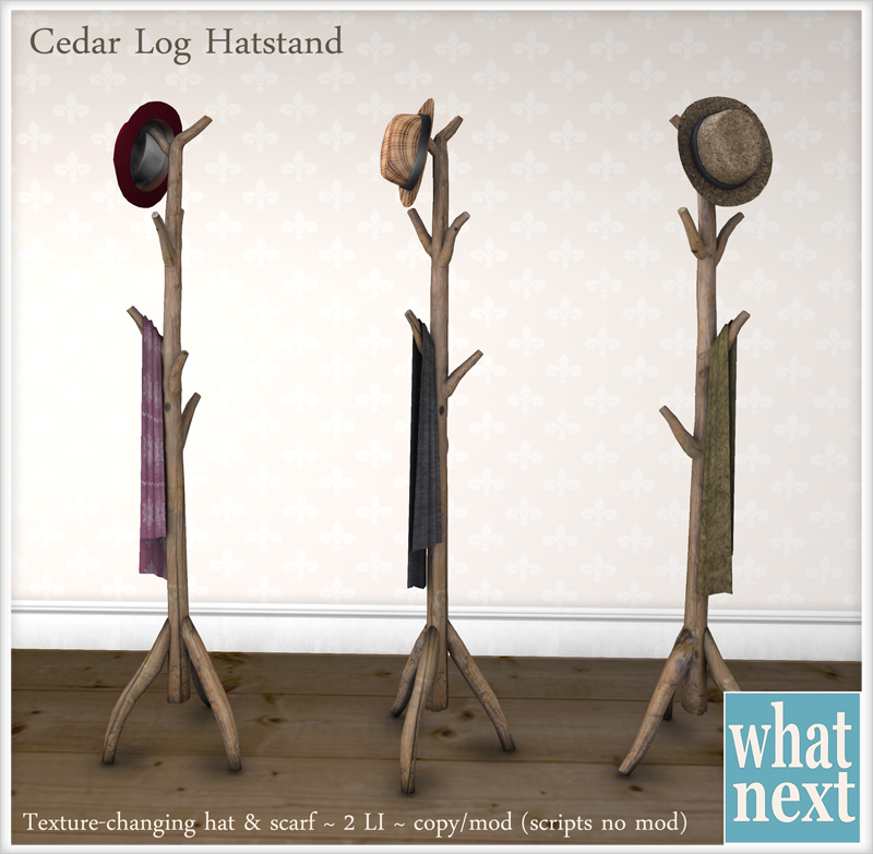 {what next} Cedar Log Hatstand Vendor 800