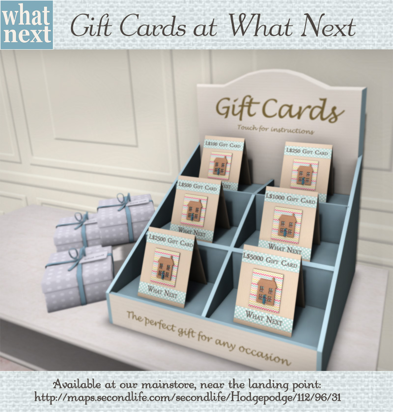 {what next} gift cards 800