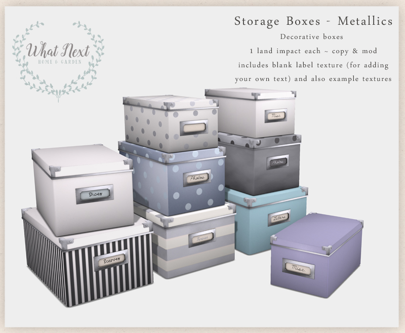 {what next} Storage Boxes - Metallics