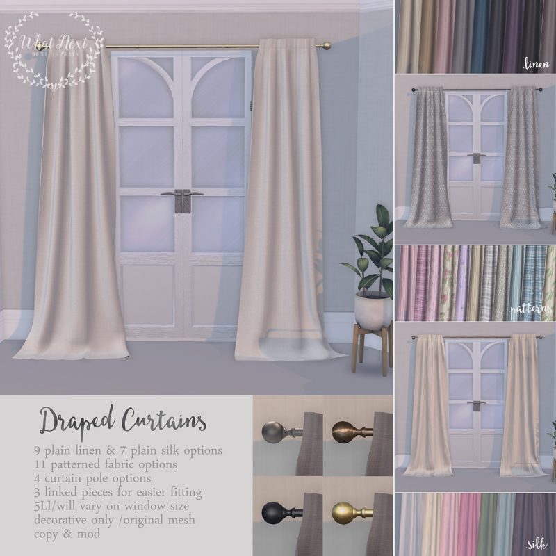 ... Elegant Floor Length Draped Curtains With Three Fabric Options: 9 Plain  Linen, 7 Plain Silk And 11 Patterned Textures. They Have 4 Curtain Pole  Textures ...